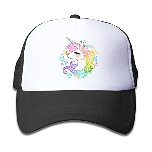Waldeal Cute Unicorns Kids Girls Mesh Caps Trucker Hats Adjustable Cap Black d24766dc3d20