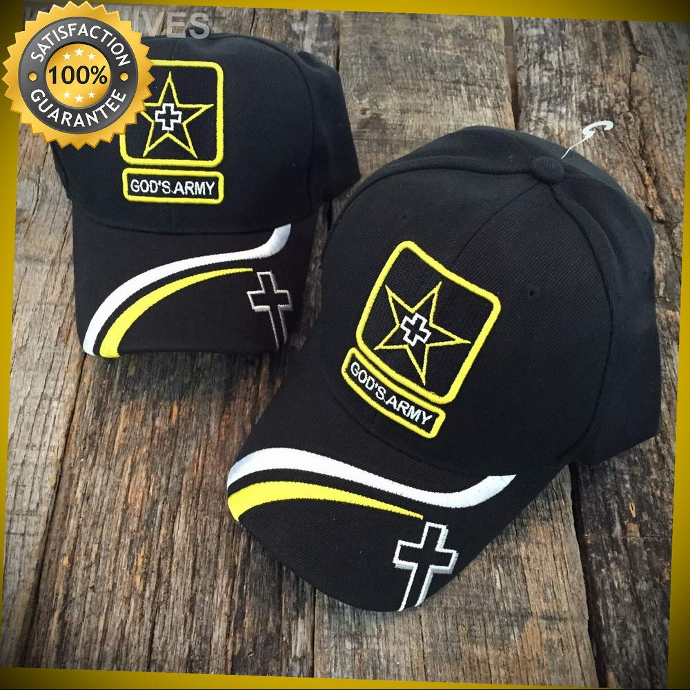 4c9514380ef59 2 LOT WHOLESALE GOD'S ARMY Christian Cap Religious Baseball Hat HT769 BLACK  for Hunting Camping Cosplay - - Amazon.com