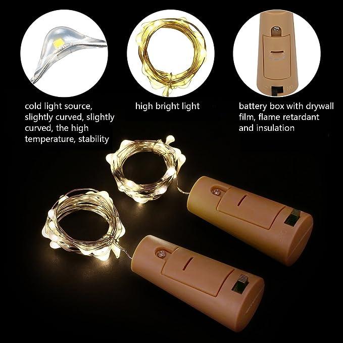Luces Led Pilas,LED Lámpara de Botella para Navidad,DIY Decoración Navideña Botella Guirnalda de Luz - HaoXuan: Amazon.es: Belleza