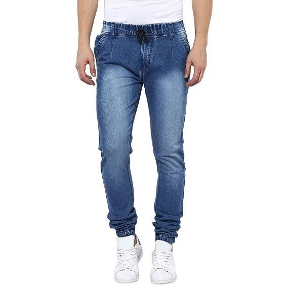 ee59fb5e09f Urbano Fashion Men s Light Blue Slim Fit Stretch Jogger Jeans ...