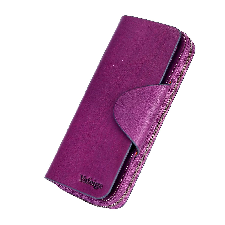 Yafeige Large Luxury Women's RFID Blocking Tri-fold Leather Wallet Zipper Ladies Clutch Purse(Matte Purple)