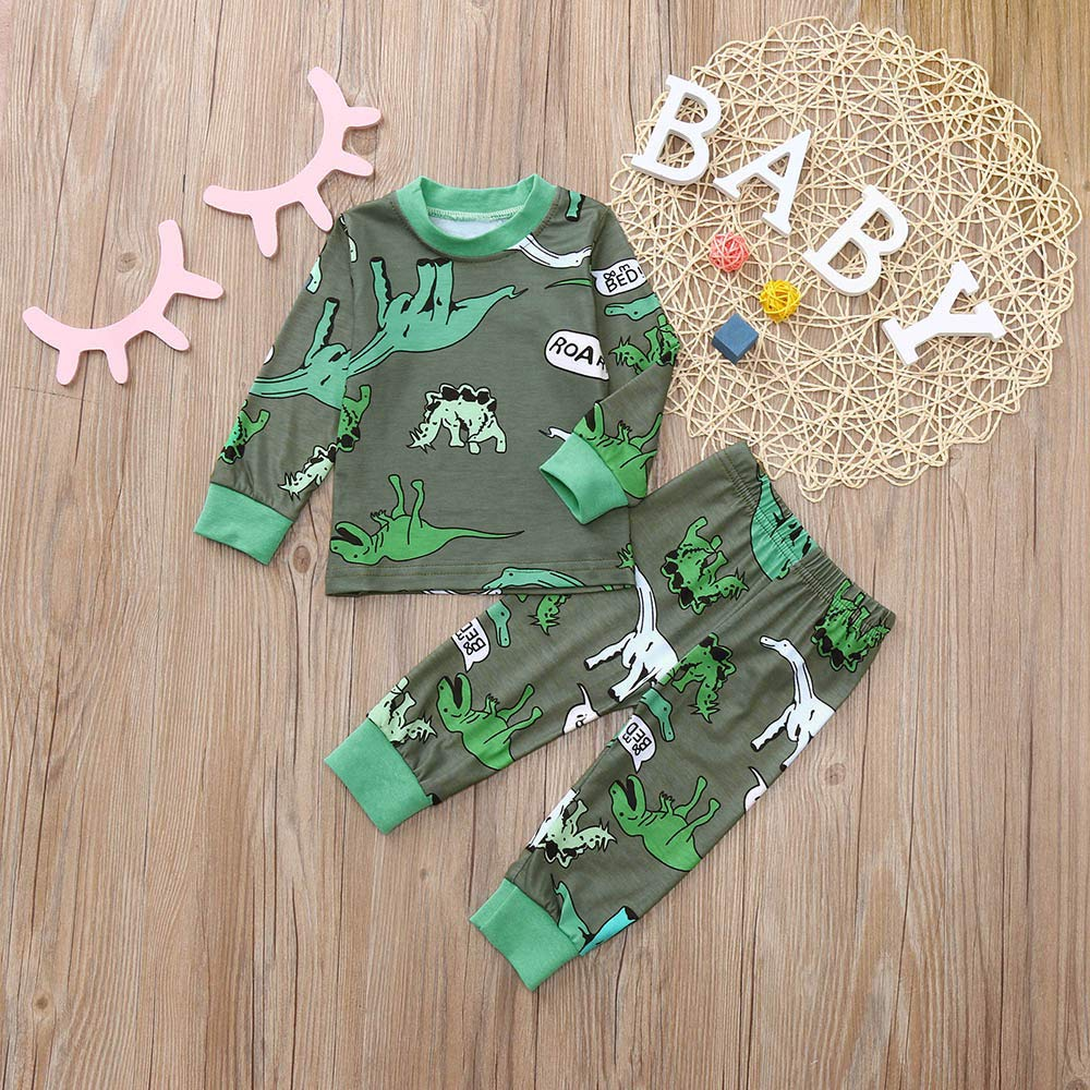 DIGOOD Toddler Baby Boys Girls 2Pcs Outfits Fall Winter Clothes,Cartoon Dinosaurs T-Shirt Tops+Pants,for 0-24 Months Kids