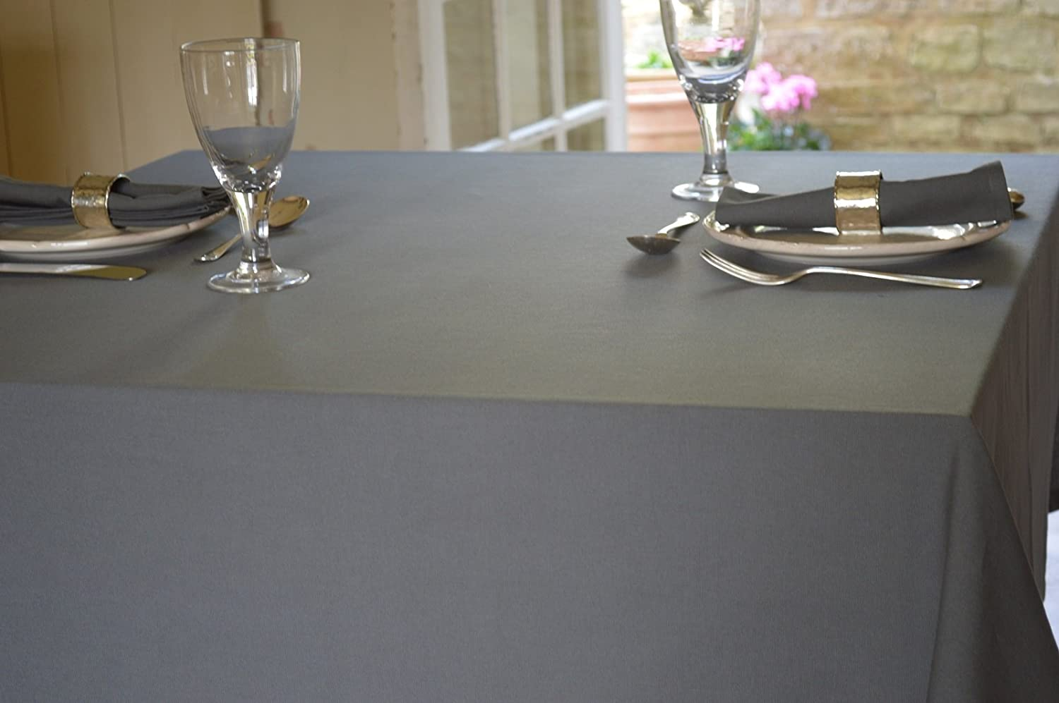 Charcoal Grey Tablecloth 100% Cotton (135x135cm) Quayside Home