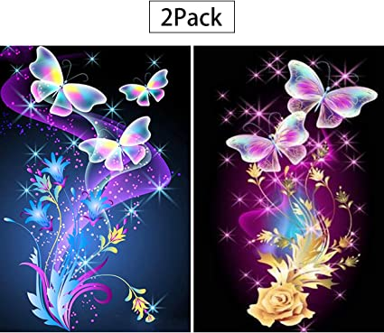 Amazon Com 2 Pack 5d Full Drill Butterfly Diamond Painting Kit Unime Diy Diamond Rhinestone Painting Kits For Adults And Beginner Embroidery Arts Craft Home Decor 16 X 12 Inch Butterfly Diamond Painting