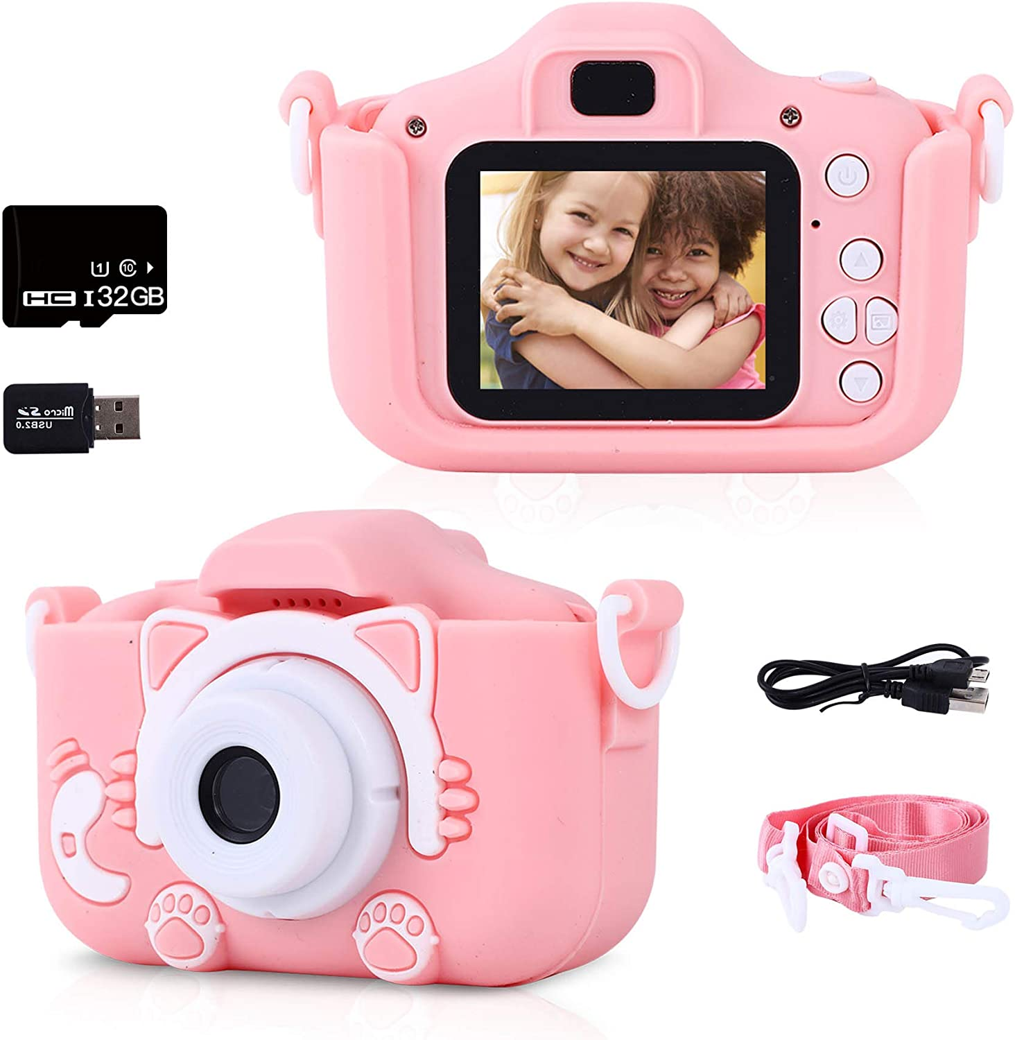 Kids Camera, Kids Digital Camera for Girls and Boys with 2 Inch IPS Screen and 1080P Video, Toddler Anti-Drop Camera is for 3-12 Years Old Girls and Boys(Included 32GB SD Card)