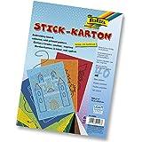 Folia 2348 - Stickkarton 300g/m², 17,5 x 24,5 cm, 40 Blatt farbig sortiert, mit 10 verschiedenen Motiven bedruckt
