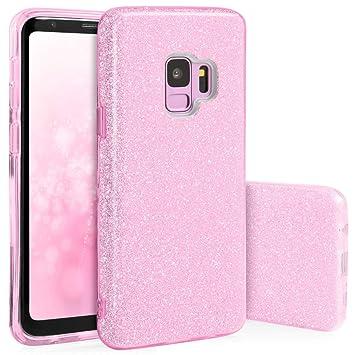 Carcasa para Móvil compatible con Funda Samsung Galaxy S9 Silicona gel dura Bumper Teléfono Brillar Purpurina Pink Caso para G960F Samsung S9 Rosa