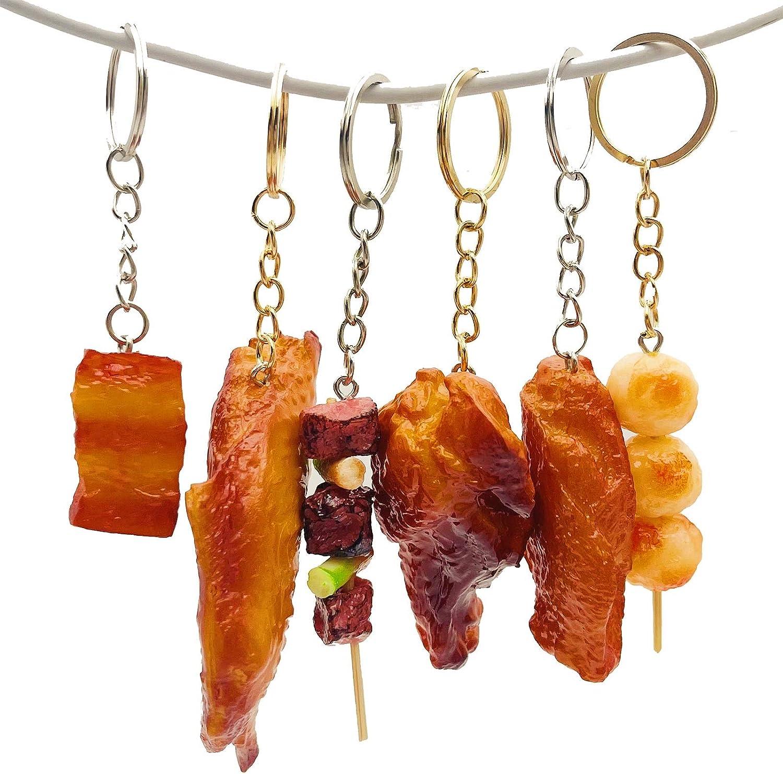 Imitation Meat Food Keychain Fidget Toys 6pcs Pendants Cute Mini Creative Delicious Food Key Ring