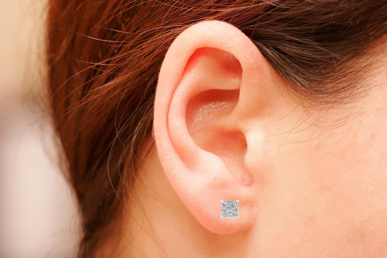 925 Sterling Silver Princess Cut Cubic Zirconia Solitaire Stud Earrings W Screw Back