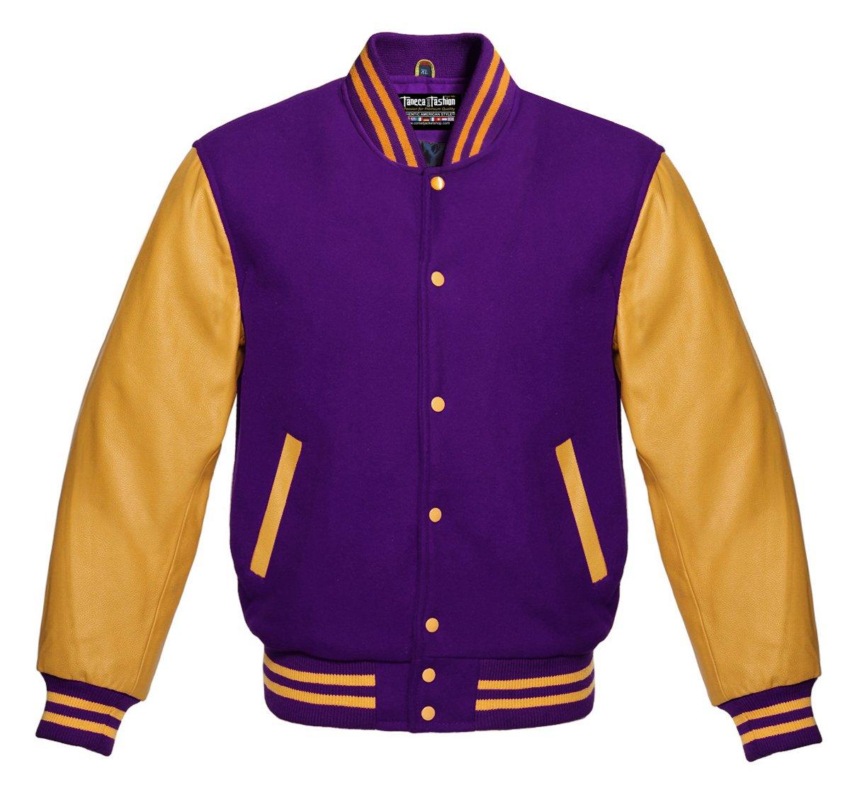 Varsity Purple Wool and Genuine Gold Leather Sleeves Superb College Jacket (M, Purple/Gold)