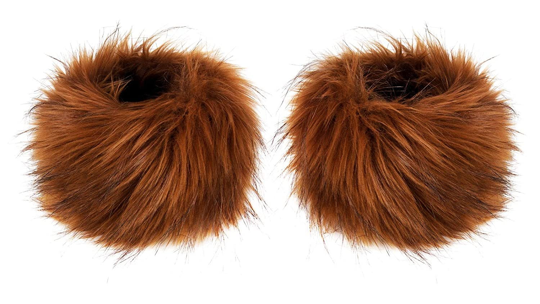 Faux Fox Fur Hair Soft Wrist Band Ring Cuff Warmer (Chocolate Raccoon Dog) Futrzane Futrzane-mankiety