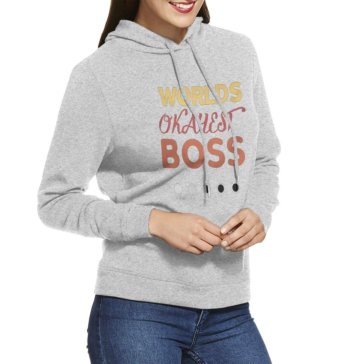 Worlds Okayest Boss Womens Hoodie Pullovers