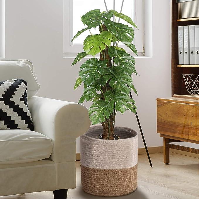 Accessoires de D/écoration Int/érieure Modernes Lot de 3 Paniers de Rangement en Papier Kraft /Écologique Cache Pot de Fleur Interieur pour Salon