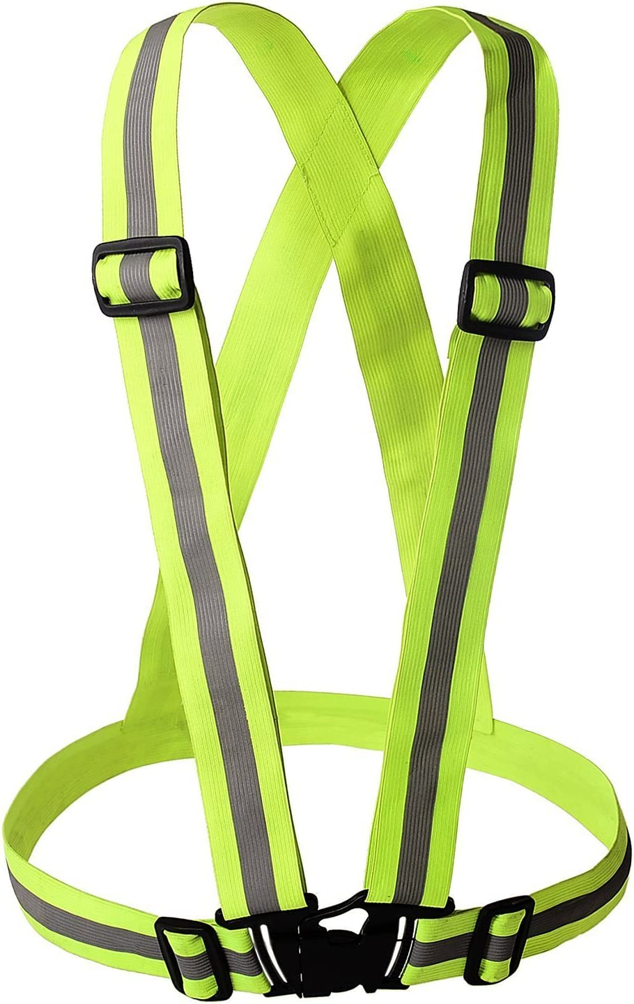 YOA Reflective Vest - Safety Vest   Nighttime High Visibility for Running - Cycling - Walking   Easy to Adjust   Lightweight Elastic   Put It on Directly Over Your Shirt - Sports Gear
