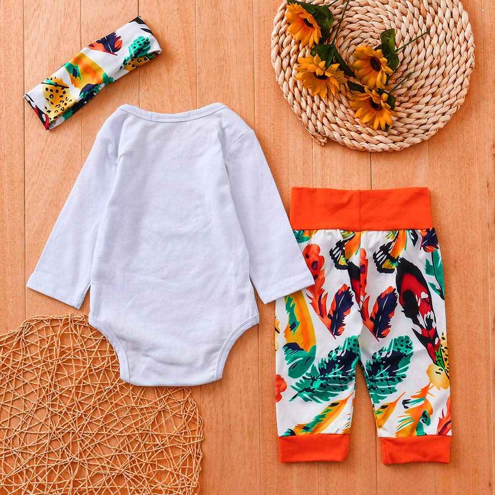 Newborn Boys Girls Hello World Letter Tops Romper+Leaf Print Pants+Headband Casual Outfits WARMSHOP 3 PC Toddler Clothes Set