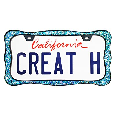 creathome 3D Shining License Plate Frame, Black Powder Coated with Chunky Gliter, Pure Zinc Alloy Metal: Automotive
