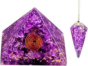 Bliss Creation AmethystOrgone Pyramid and Amethyst Orgone Pendulum| Crystal Pyramid | Energy Crystal |Orgonite Pyramid| Crystal Healing Kit |Energy Crystal |EMF Protection Home Energy Generator