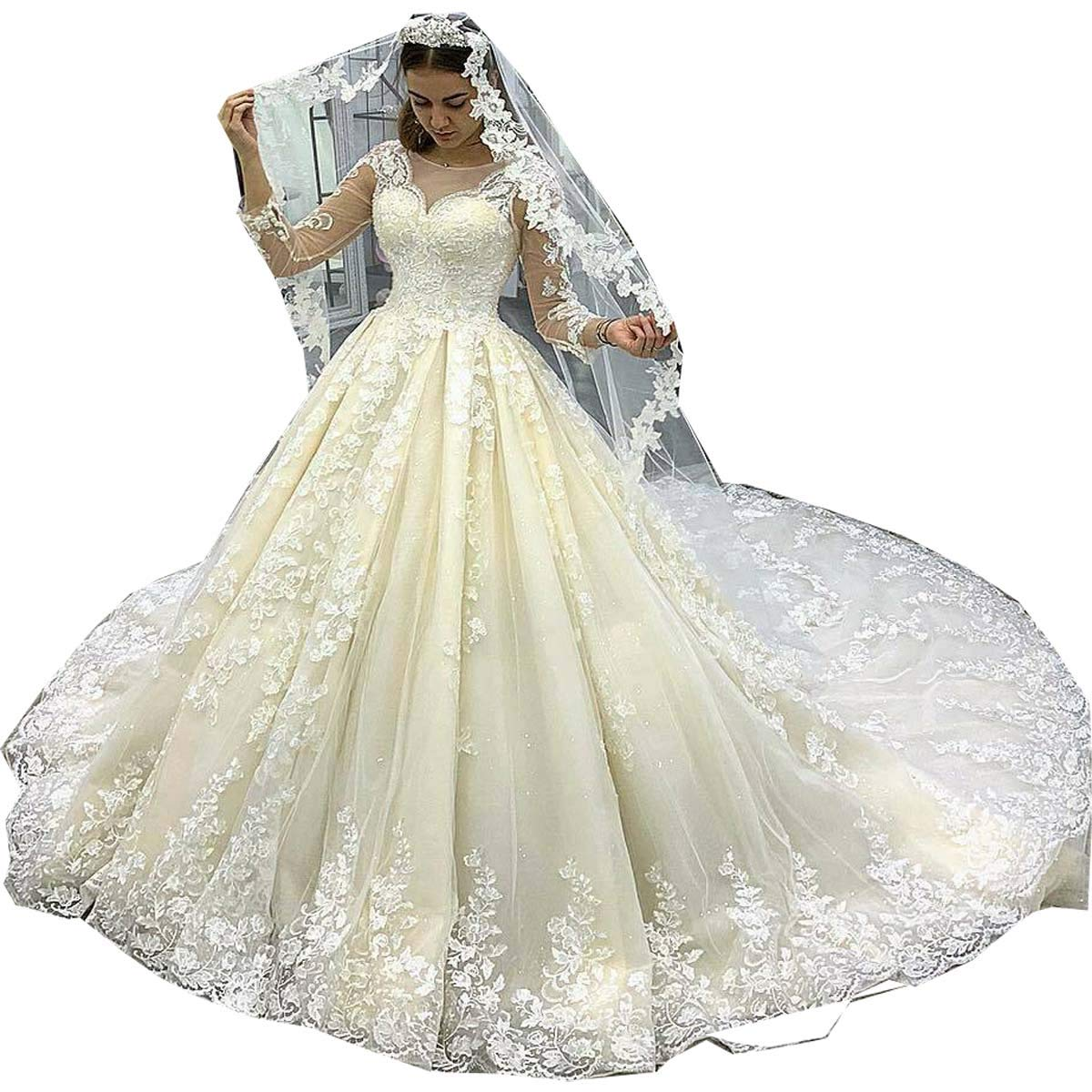 becc1216867 Thrsaeyi Gorgeous Mermaid Wedding Dresses Lace Applique Bridal Gowns Beaded Long  Sleeve Wedding Gowns at Amazon Women s Clothing store