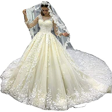 3784995572a4 Thrsaeyi Gorgeous Mermaid Wedding Dresses Lace Applique Bridal Gowns Beaded  Long Sleeve Wedding Gowns Champagne,