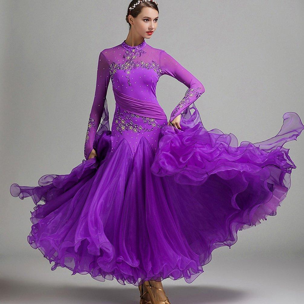 Herrlich Frauen Standard Ballsaal Wettbewerb Prüfung Kleider Tüllschaukel Tüllschaukel Tüllschaukel Tango Waltz Modern Dance Kleid Lange Ärmel B07M9FDBBS Bekleidung Im Freien c2563e