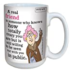 Tree-Free Greetings lm43829 Hilarious Aunty Acid Real Friends by The Backland Studio Ceramic Mug, 15-Ounce