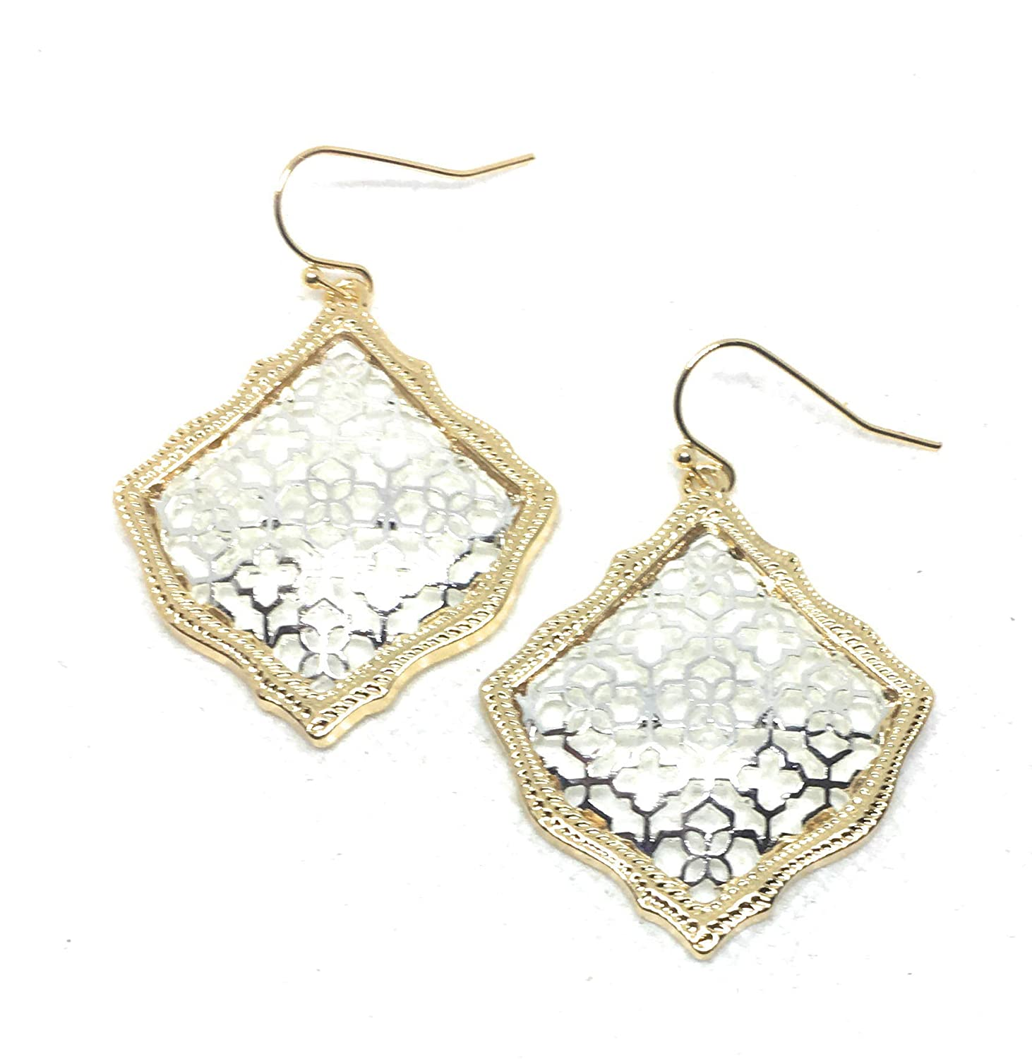 Inspired Fashion Jewelry Square Morrocan Earrings in Gold//Silver