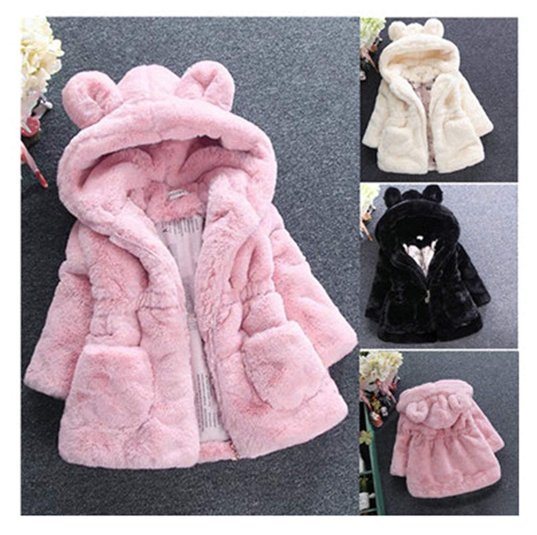 Susie Zechariah New Winter Baby Girls Clothes Faux Fur Fleece Coat Warm Jacket Snowsuit 1-8Y