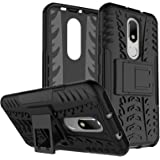 DMG Motorola Moto M Kick Stand Cover, Protective Heavy Duty Dual Layer Back Cover Case for Motorola Moto M (Black)