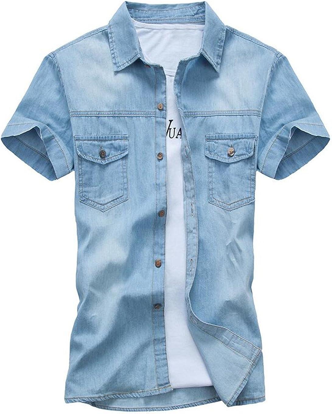 RRINSINS Men Summer Shirt Short Sleeve Fashion Western Plaid Button Down Shirt
