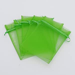 """100 pcs 3x4"""" (8x10cm) Organza Bags Wedding Favor Bags Party Gift Bags Candy Bag Jewelry Pouch Drawstring Bag FB777 (Apple Green - FB039)"""