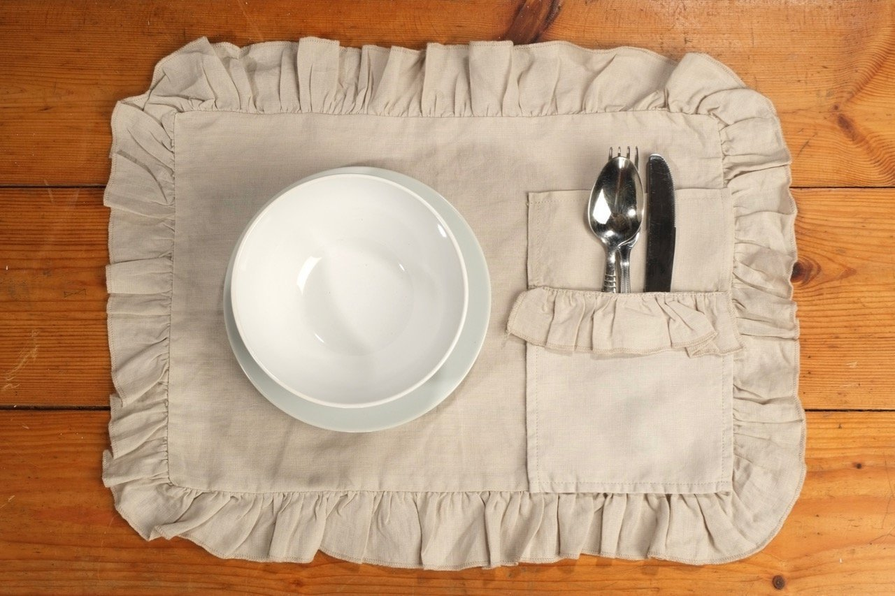 Handmade Shabby Chic Natural Linen Placemats