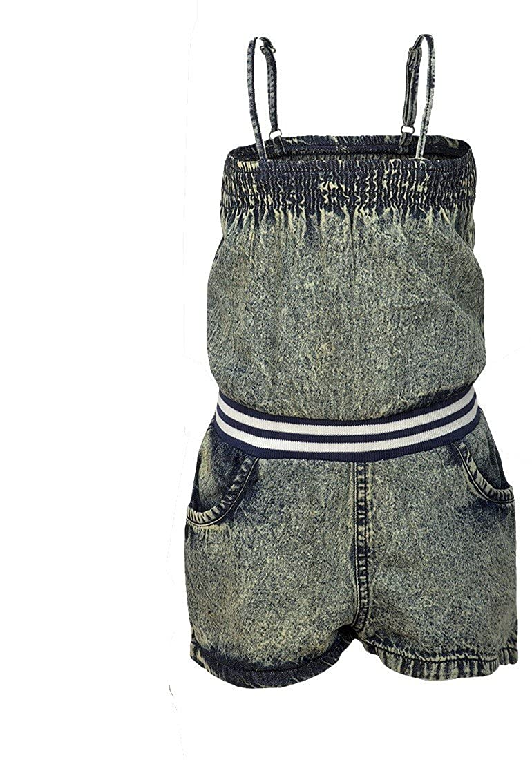 Girls Strappy Denim Wash Distressed Elasticated Waist Shorts Playsuit All in One Summer Romper.