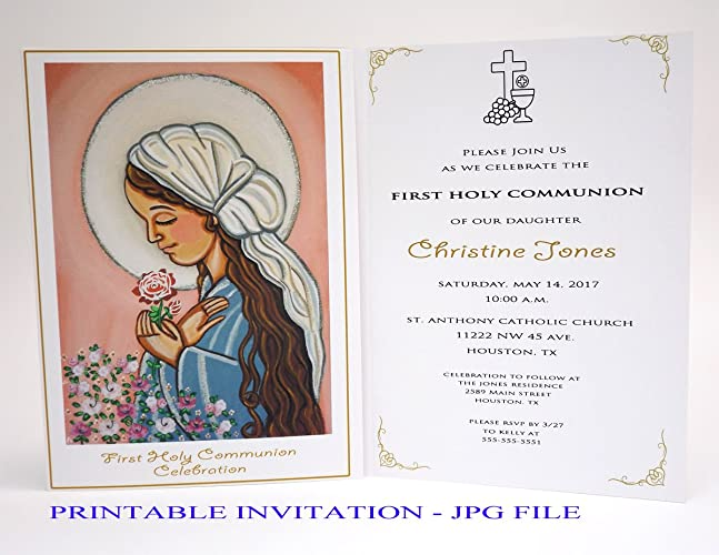 Girl first communion invitation girl Our Lady Boy first holy communion invitation boy Virgin Mary Religious invitation First communion invites Spanish ...