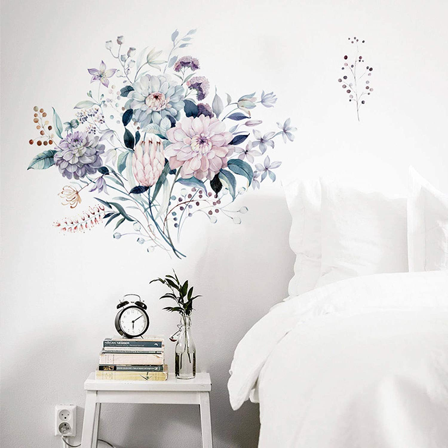 TIICA Purple Pink Flowers Wall Decals, Watercolor Dahlia Blossom Removable Colorful Floral Peel and Stick Wall Art Stickers for Bedroom Living Room Kitchen Home Decor