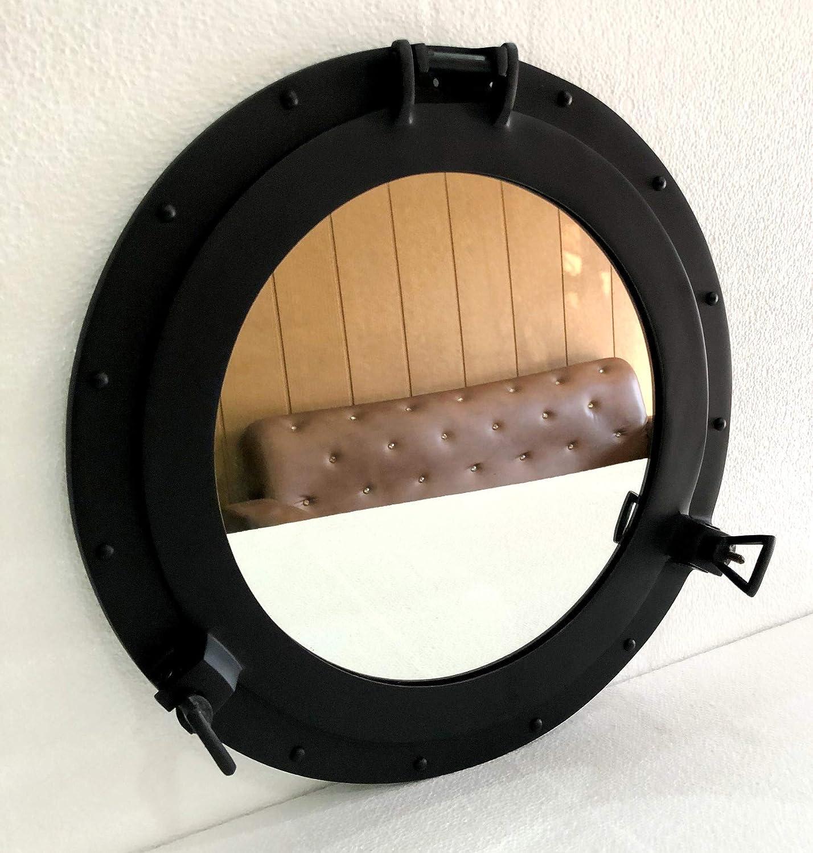 Aluminium Black Porthole Mirror