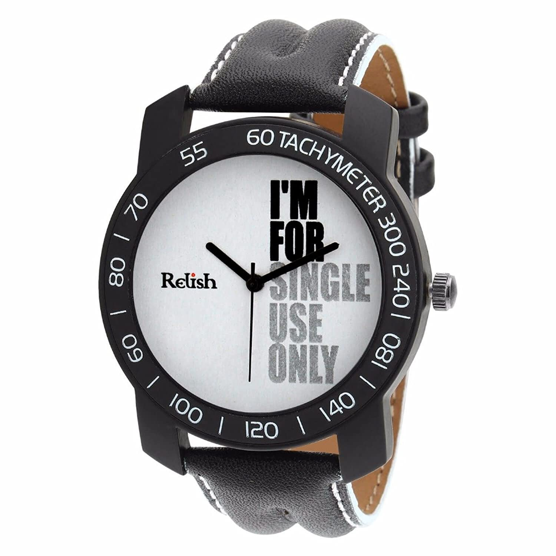 Relish-563 Stylish Black Case Analog Watches for Mens & Boys