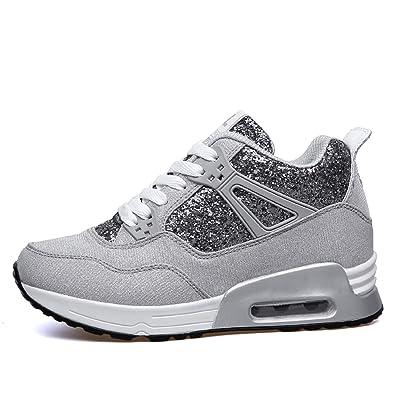 AONEGOLD Sneakers Zeppa Interna Donna Scarpe da Ginnastica Fitness Basse  Tacco 7 cm(Grigio Chiaro 7308e2eabb8