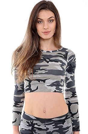 3afb043823fde Women Ladies Long Sleeve Crop Army Camo Stretch Top Shirt Crop Top ...