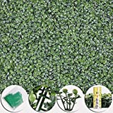 Beth Home 12pcs Artificial UV Boxwood Mat Wall Hedge Decor w/Ties Grass Fake Fence 20x20