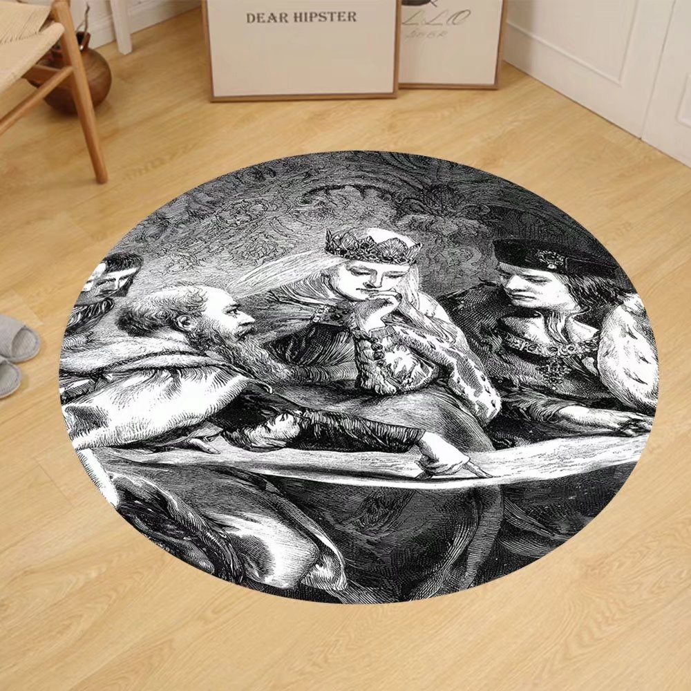 Gzhihine Custom round floor mat Victorian Decor Collection Christopher Columbus at the court of King Ferdinand and Queen Isabella america discovery Bedroom Living Room Dorm