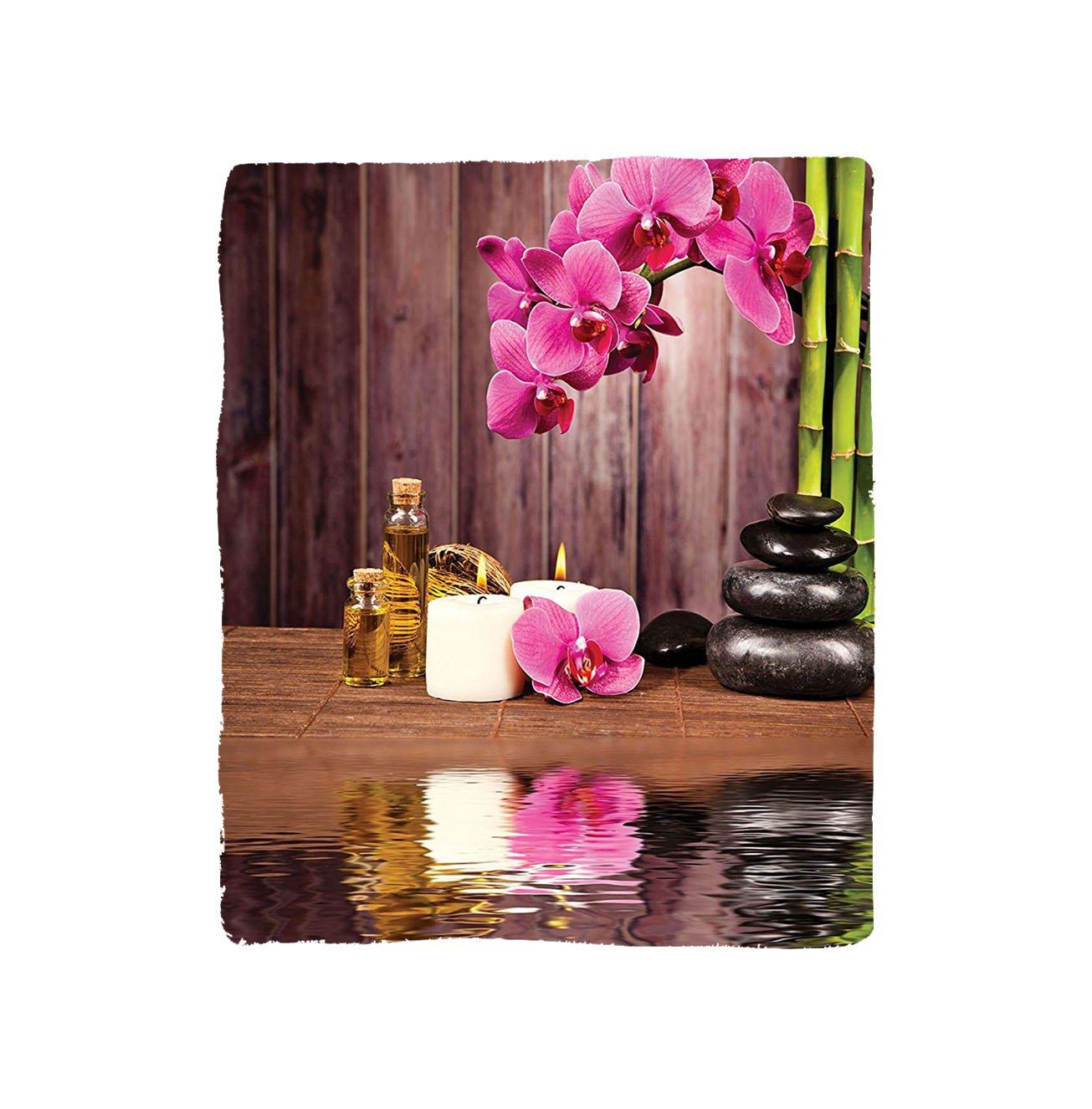 VROSELV Custom Blanket Spa Spa Flower Water Reflection Aromatherapy Bamboo Blossom Candlelight Bedroom Living Room Dorm