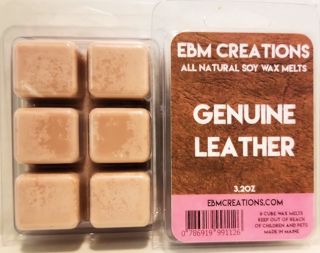 Genuine Leather - Scented All Natural Soy Wax Melts - 6 Cube Clamshell 3.2oz Highly Scented!