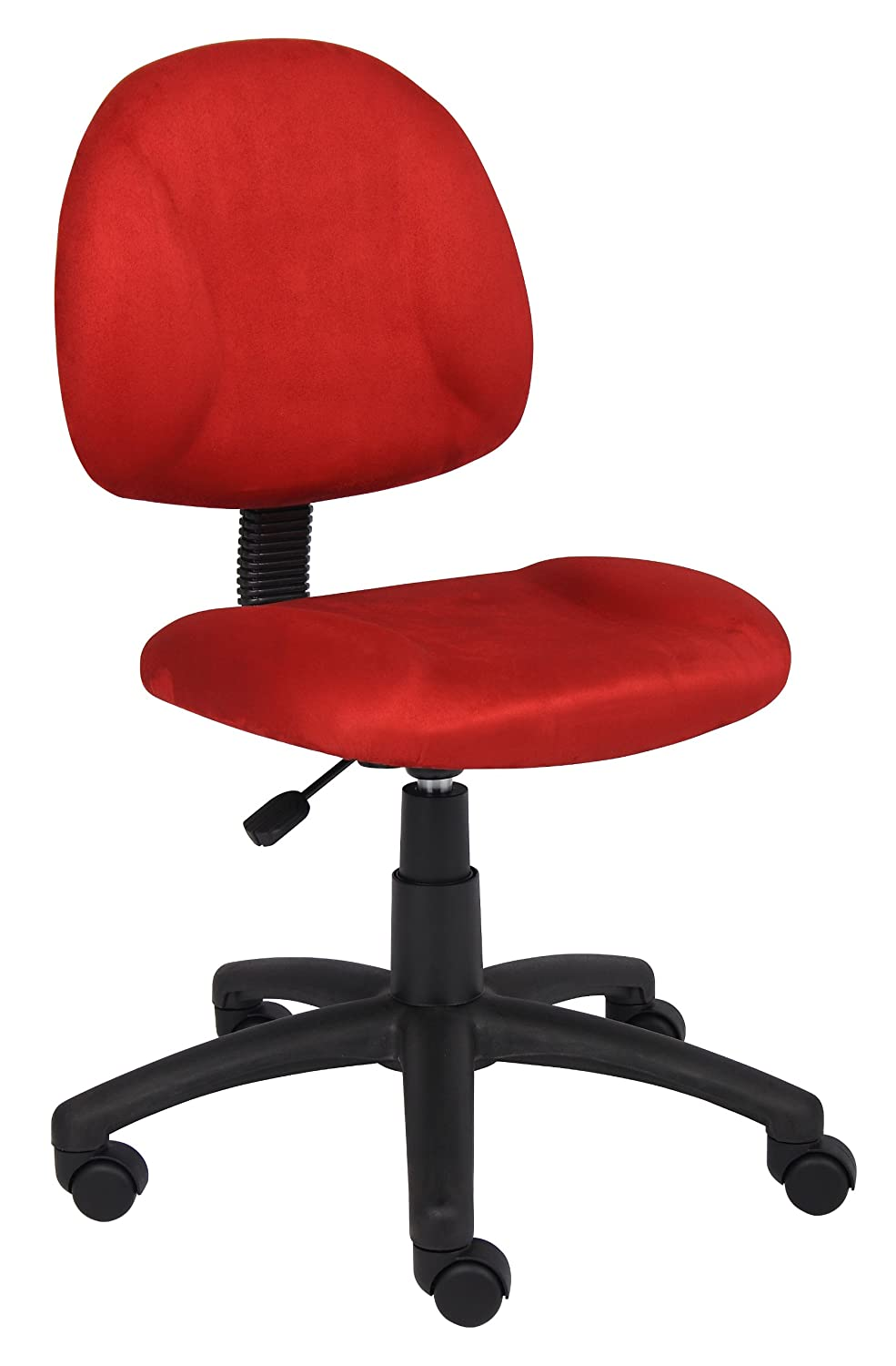 Boss Office Products B325-RD Perfect Posture Delux Microfiber Task Chair without Arms in Red