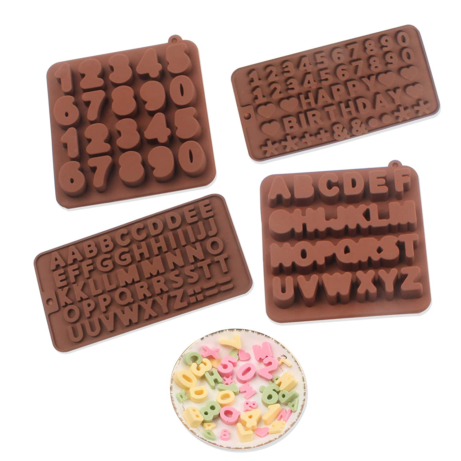 BAKER DEPOT Silicone Chocolate Mold different Letters number Fondant Cake Decorating Molds Happy Birthday Cake Baking DIY Tool Candy Biscuit Mould set of 4