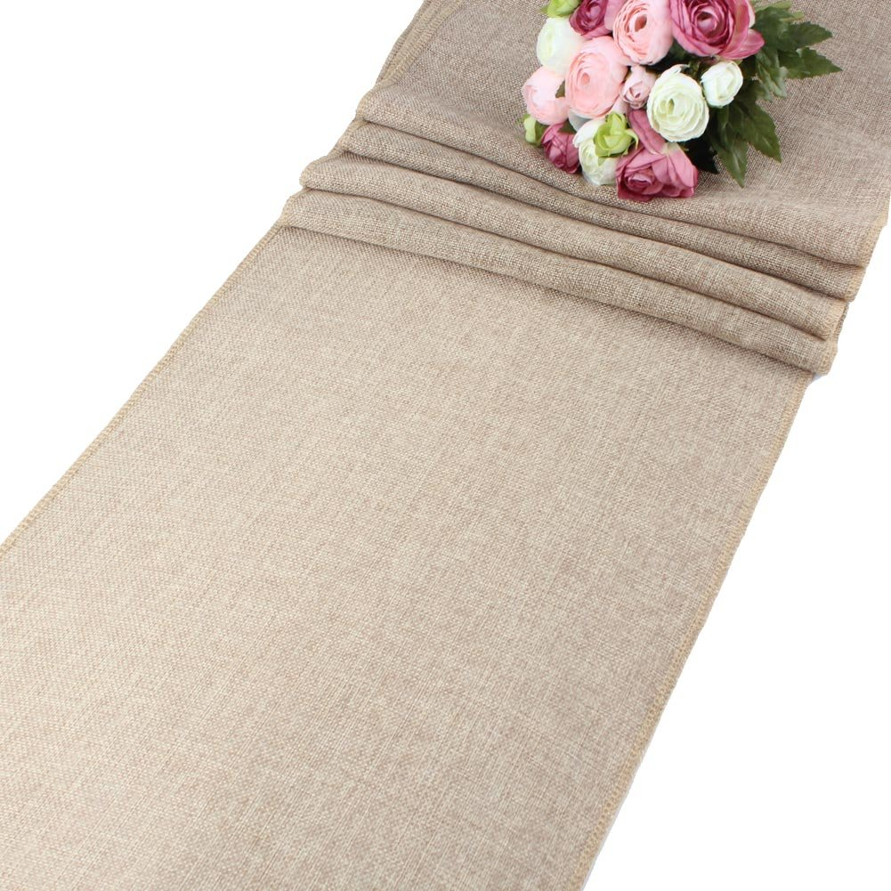 AerWo Khaki Natural Imitated Linen Table Runner for Wedding Party Decoration - 13.5 Inches x 48 Inches - S