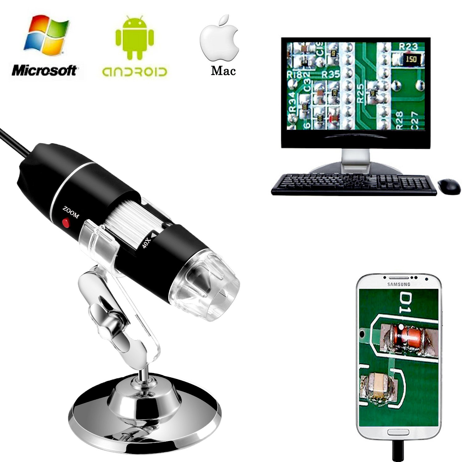 Jiusion 40 to 1000x Magnification Endoscope, 8 LED USB 2.0 Digital Microscope, Mini Camera with OTG Adapter and Metal Stand, Compatible with Mac Window 7 8 10 Android Linux by Jiusion