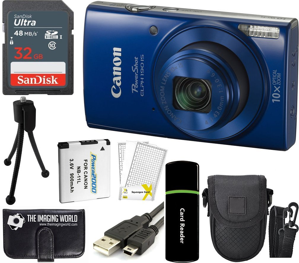Canon PowerShot ELPH 190 is 20.2MP 10x Zoom Wi-Fi Digital Camera (Blue) + SanDisk 32GB Card + Reader + Spare Battery + Case + Accessory Bundle by The Imaging World