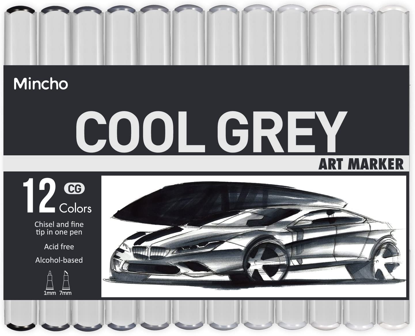 New COPIC Twin Marker 12 Cool Grey Set CG Graphic Art Markers Free Shipping
