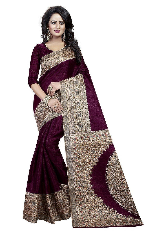 d3a968dfa2c68 ISK FABRICS Woman s Khaddi Silk Sarees Wine Color  Amazon.in  Clothing    Accessories