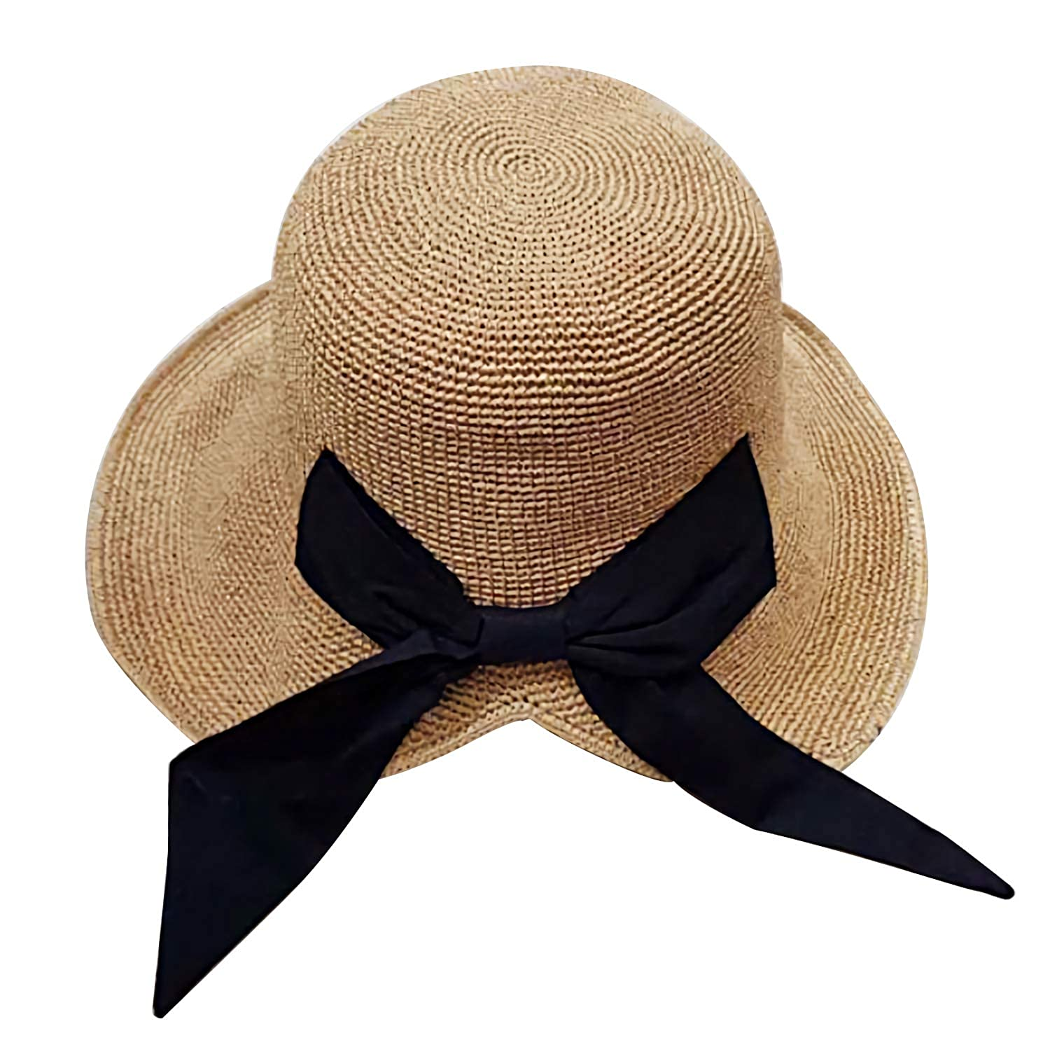 d66a5f10 Women Sun Hat Bowknot Straw Hat Wide Brim Foldable Roll Up Hat for Travel  Beach Summer Khaki at Amazon Women's Clothing store: